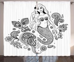 Güzel Deniz Kızı Temalı Fon Perde Siyah Beyaz Şık