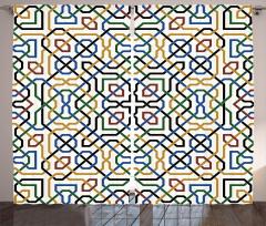 Mavi Sarı Yeşil Desenli Fon Perde Şık Geometrik