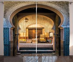 Şık Kemerli Kapı Temalı Fon Perde Doğu Mimarisi