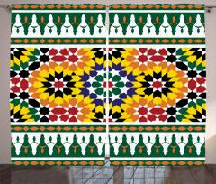 Rengarenk Geometrik Fon Perde Çeyizlik
