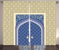 Krem Lacivert Kapı Fon Perde İslam Etkili