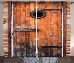 Kahverengi Ahşap Kapı Fon Perde Dekoratif