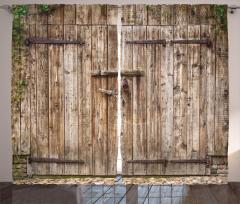 Antik Ahşap Kapı Temalı Fon Perde Şık Dekoratif
