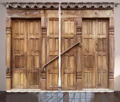 Oymalı Kahverengi Kapı Fon Perde Dekoratif