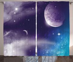 Uzay Gezegen ve Yıldız Fon Perde Mor Mavi