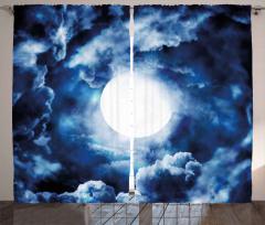 Bulut Girdabı ve Ay Fon Perde Mavi Beyaz