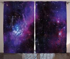 Lacivert ve Mor Uzay Fon Perde Dekoratif