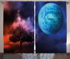 Ağaç ve Dünya Desenli Fon Perde Mavi Lacivert Mor