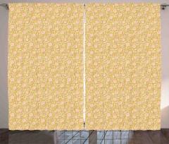 Şık Sarmaşık Gülü Fon Perde Pembe ve Sarı