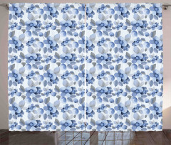 Mavi Lacivert Çiçek Fon Perde Çeyizlik