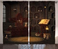 Kuru Kafalar ve Kitap Fon Perde Kahverengi