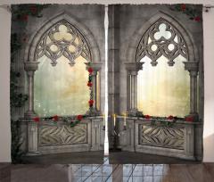 Mermer Şato Pencereleri Fon Perde Antik