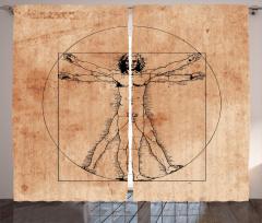 Da Vinci İnsan Anatomi Fon Perde Geometrik