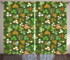 Üç Yapraklı Yonca Fon Perde Yeşil Turuncu Şık