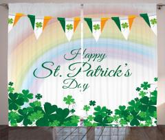 İrlanda Bayrağı Desenli Fon Perde Aziz Patrik Günü