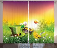 Şapka Altın ve Balon Fon Perde Çiçek Yeşil Nal