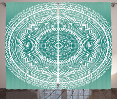 Mandala Çiçeği Desenli Fon Perde Dekoratif