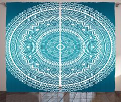 Mavi Mandalalı Desen Fon Perde Dekoratif