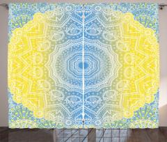 Sarı Mavi Çember Fon Perde Geometrik