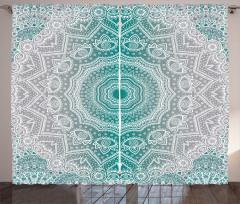 Yeşil Gri Şal Desenli Fon Perde Geometrik