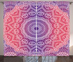 Çiçekli Geometrik Şal Fon Perde Dekoratif
