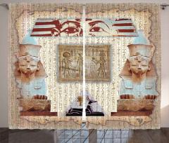 Dekoratif Antik Mısır Desenli Fon Perde Hiyeroglif