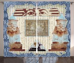 Mavi Çerçeveli Mısır Desenli Fon Perde Antik