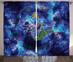 Mavi Mitolojik Fil Desenli Fon Perde Kozmik