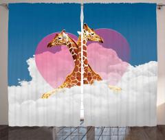 Zürafa Aşkı ve Bulutlar Fon Perde Kalpli
