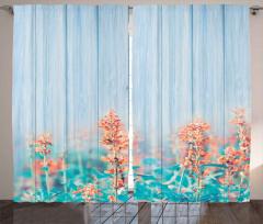 Pembe Turuncu Kır Çiçekleri Fon Perde Mavi Ahşap