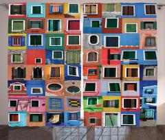 Rengarenk Pencereler Desenli Fon Perde Dekoratif