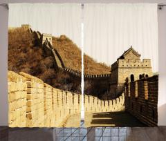 Sepya Çin Seddi Desenli Fon Perde Antik