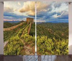 Orman ve Çin Seddi Fon Perde Bulutlu