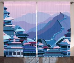 Şık Çin Seddi Desenli Fon Perde Antik Şehir
