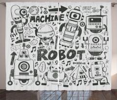 Robot Dünyası Desenli Fon Perde Siyah Beyaz