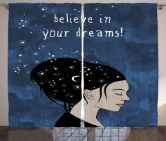 Siyah Saçlı Kız Desenli Fon Perde Hilal ve Yıldız