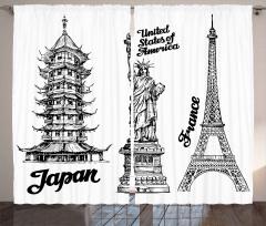 Üç Ülkeden Kuleler Fon Perde ABD Fransa Japonya