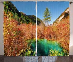 Dağların Arasındaki Göl Fon Perde Orman