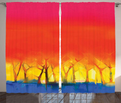 Sanatsal Sonbahar Orman Fon Perde Şık