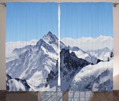 Karlı Kayalık Dağlar Fon Perde Bulutlu