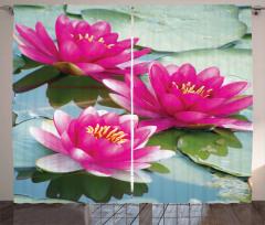 Pembe Çiçek ve Su Temalı Fon Perde Yaprak Yeşil