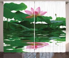Çiçek ve Yaprak Temalı Fon Perde Su Pembe Yeşil
