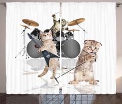 Cazcı Kedi Kardeşler Desenli Fon Perde Beyaz