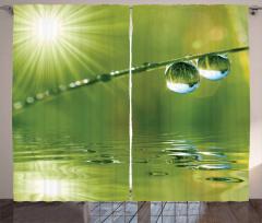 Su Damlası ve Güneş Temalı Fon Perde Yeşil Şık