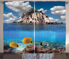 Deniz ve Su Altı Temalı Fon Perde Mavi Balık Bulut