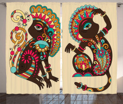 Modern Maymun Desenli Fon Perde Şal Efektli