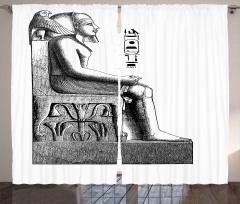 Oturan Mısır Heykeli Fon Perde Hiyeroglifli