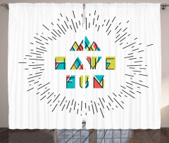 Rengarenk Yazılı Fon Perde İyi Eğlenceler