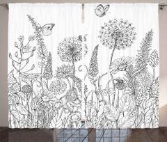 Kelebek ve Kır Çiçeği Fon Perde Siyah Beyaz
