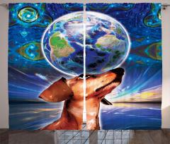 Dünya Köpeğin Başında Fon Perde Uzay